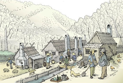 Chinese Village, Harrietville. Illustration by Andrew Swift.